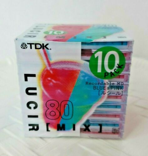 TDK Lucir [Mix] Recordable Minidiscs x10 Pack   80 Minute   Blue & Pink   Sealed