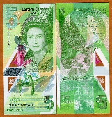 Eastern East Caribbean, $5 ND (2021) Polymer, QEII redesigned Gem UNC