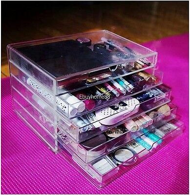 Large CosmeticJewelry clear Acrylic case 5 Multipurpose drawer Organizer Box