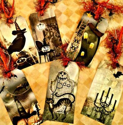 Halloween Boo~6 Gift Hang Tags~Scrapbooking~Card Craft Making Embellishments - Make Halloween Gift Tags