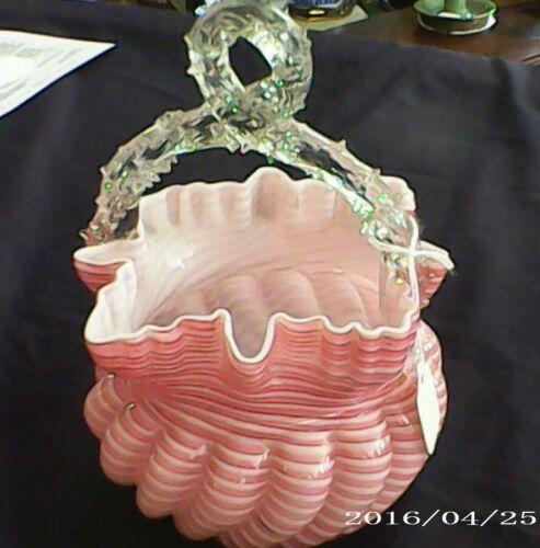 ANTIQUE ART GLASS HAND BLOWN ruffled PINK STRIPED BASKET  BOWL c1890