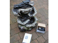 Cascade Water Feature - Mains powered, wood effect, including pump and three LED lights