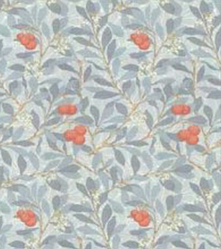 Dollhouse Miniature 1:12 Wallpaper - Leaves and Fruit - Orange and Blue Grey
