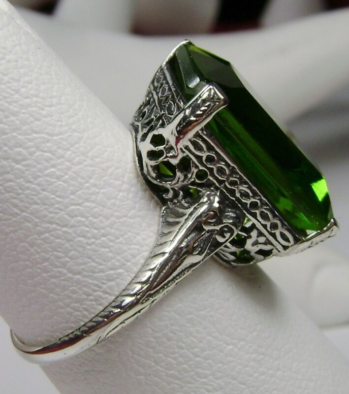 10ct Sim Peridot Sterling Silver Victorian Etched Filigree Ring {Made To Order}