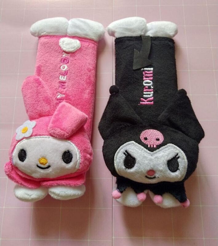 2pcs Cute My Melody & Kuromi Friends Seat Belt Cover Auto Car Plush Shoulder Pad