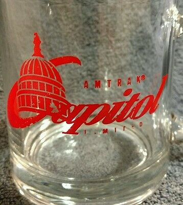AMTRAK® Capitol Limited Coffee Mug Train Railroad Collectible Clear Glass cup