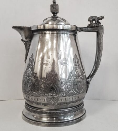 Victorian Aesthetic Silver Plate Ice Water Pitcher with  Polar Bear Finial