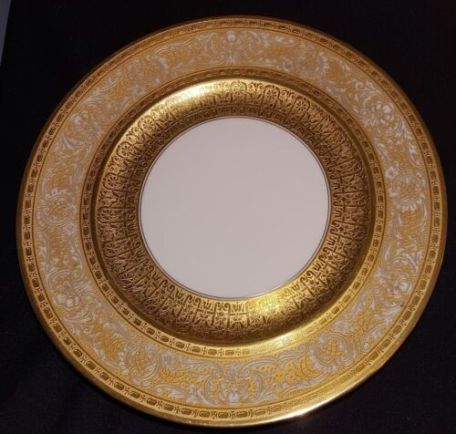"""10 GOLD ENCRUSTED SERVICE PLATES """"OVER THE TOP"""" GILT HUTSCHENREUTHER BAVARIA"""