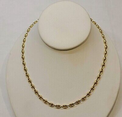 Puffed Gucci Mariner Link Chain Necklace 14k Solid Gold Italian Vintage 24 3/4""