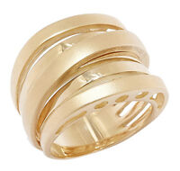 UNO A ERRE 18 K GOLD TWO TEXTURED CROSSOVER RING, SIZE 6 , FAB!!