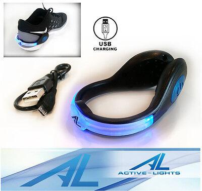 ACTIVE LIGHTS BLUE RED GREEN - Black Rechargeable USB LED Safety Shoe Clip - Led Shoe Lights
