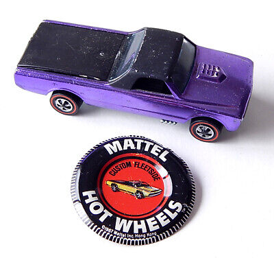 1968 Hot Wheels Custom Fleetside Redline Car Purple Black w/ Redline Button