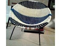 Vintage retro 1960s childs woven atomic styled chair, with metal legs.