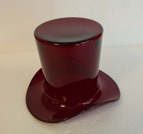 "Rare Large Size Paden City Deep Red Ruby Glass Top Hat 7 1/2"" Wide 5 1/2"" Tall"