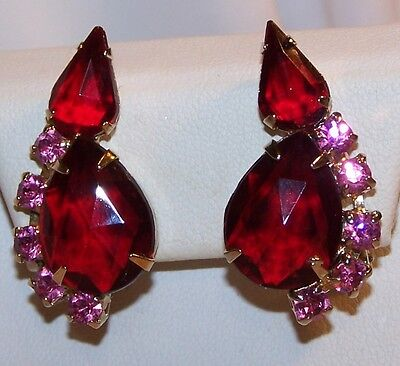 Juliana Rhinestone Valentine Red PINK Earrings-Clip Back-Estate Jewelry