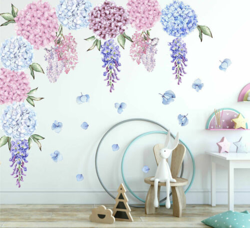 Home Decoration - Hydrangea Wisteria Flower Decal Wall Stickers Kids Girls Nursery Home Decor Art