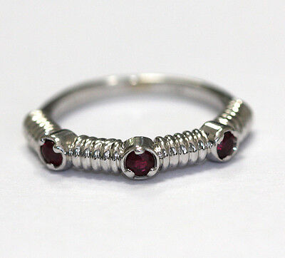 14k Gold Close Set - Ruby Band set in 14k white gold with 3-ruby at 0.28ct total weight