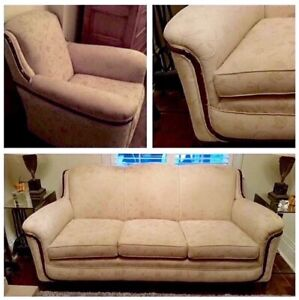 1930 Vintage Sofa /Chair set mahogany trim/high end upholstery