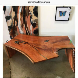 PRICE REDUCED - Rose Gum Timber Coffee Table with Paua Shell Caloundra Caloundra Area Preview