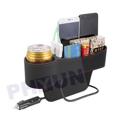 1PC Car Seat Gap Storage Box Crevice Organizer Pocket Dual USB Cup Holder Left
