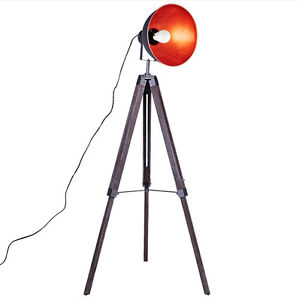 Floor Lamp Wooden Tripod Grey Steel Shade Pine Brown Melbourne CBD Melbourne City Preview