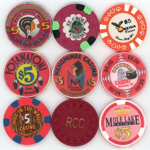 (LOT OF NINE) $5 Wisconsin Casino Chips -  9 WISCONSIN CASINO CHIPS