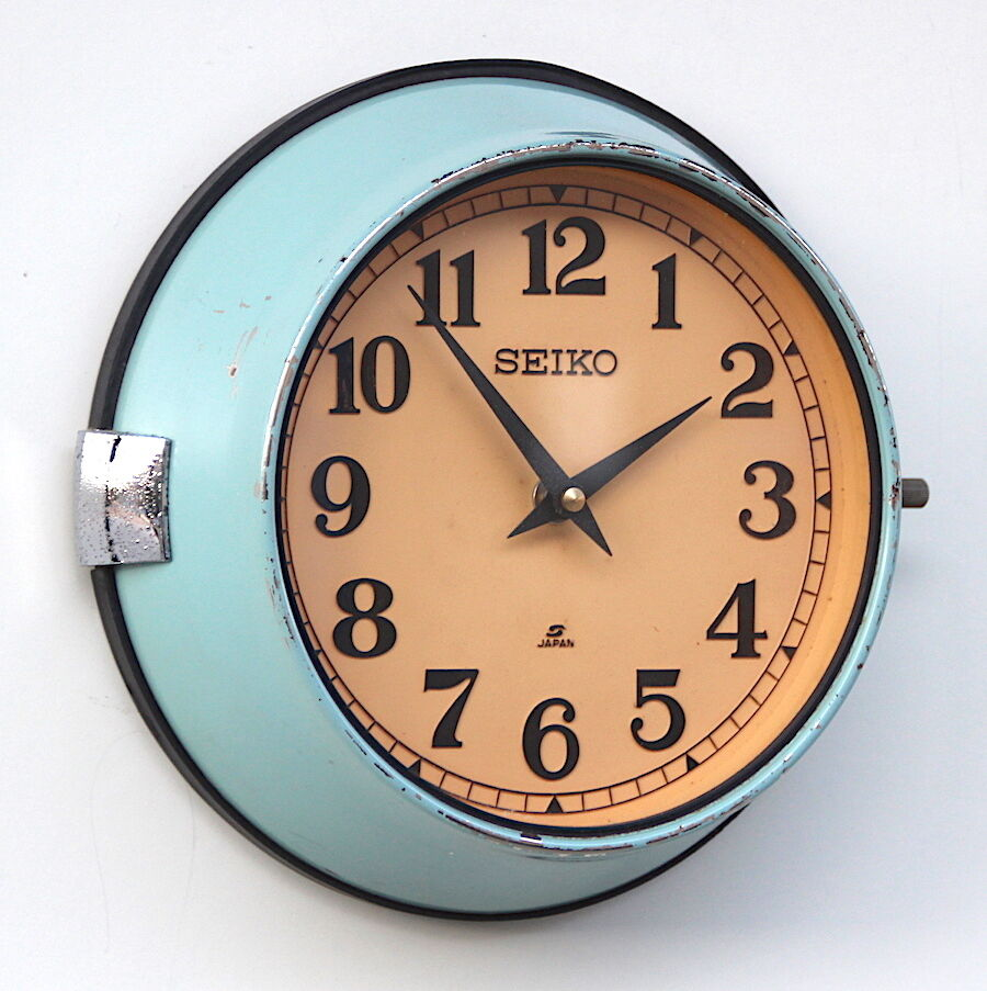SEIKO 1950s Bulkhead Clock  Vintage Retro Midcentury Industrial Factory Office