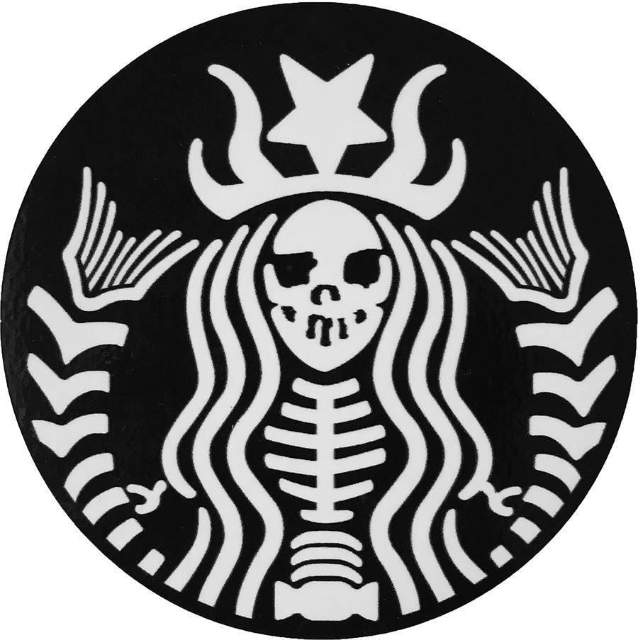 Details about ota sticker skeleton mermaid biker heavy motorcycle goth emo rock logo sign bone