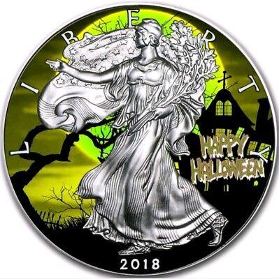 2018 USA $1 HAPPY HALLOWEEN WALKING LIBERTY 1 Oz Silver Coin. ()