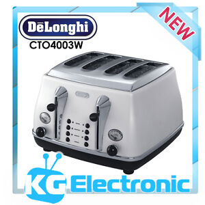 DeLonghi Icona 4 Slice Toaster WHITE CTO4003W NEW