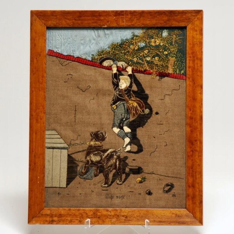 GERMAN STUMPWORK ILLUSTRATION EMBROIDERY, THIEVES & GUARD DOG, 1800
