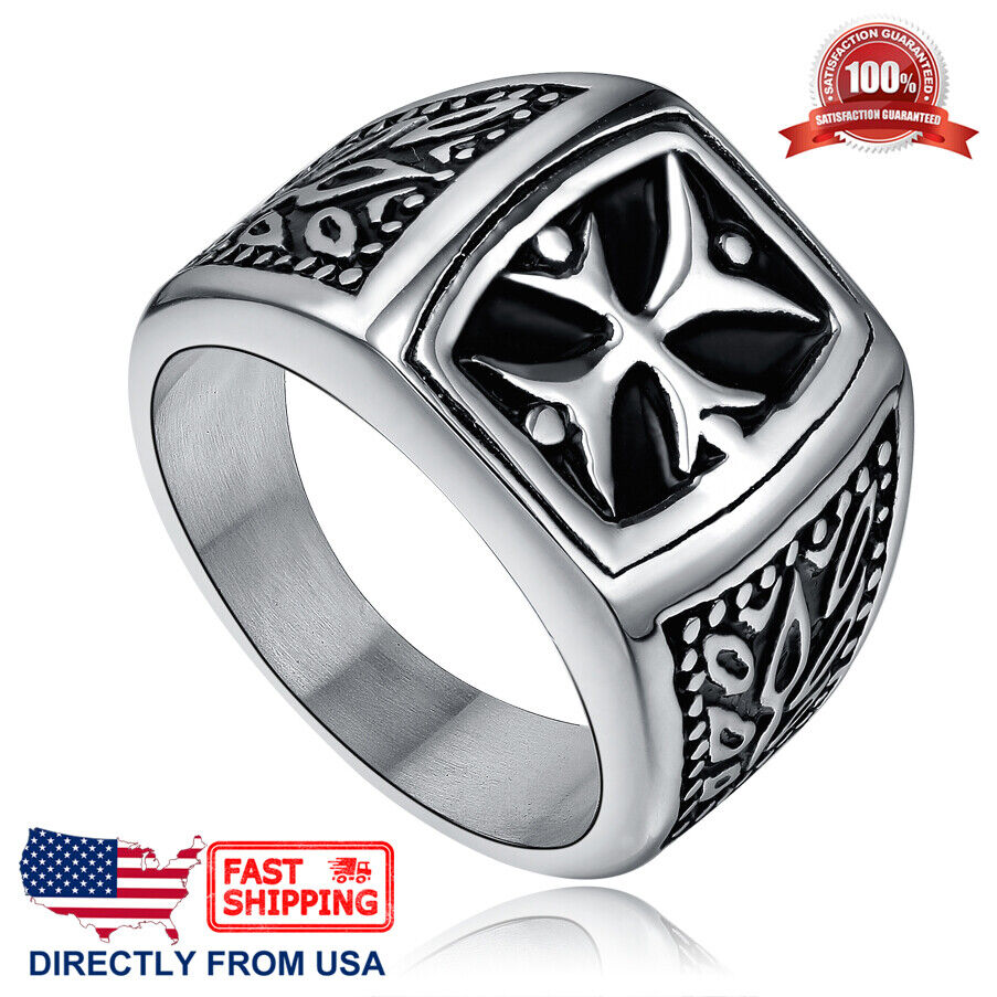 Men's Stainless Steel Vintage Cross Ring (Size 7 – 13, US Seller) Jewelry & Watches