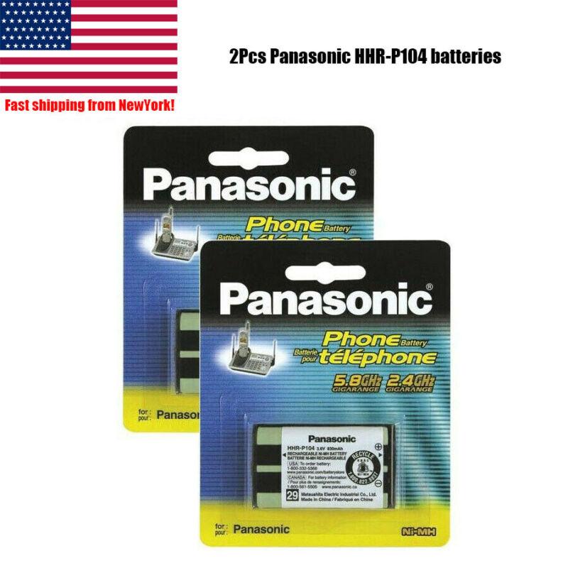 2Pcs Panasonic HHR-P104 3.6V NIMH Rechargeable Batteries for KX-TG Series Phone