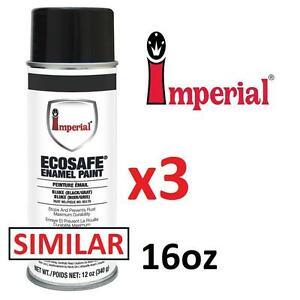 3 NEW IMPERIAL ECOSAFE ENAMEL PAINT - 120737040 - 16oz - 454g - GLOSS BLACK SPRAY