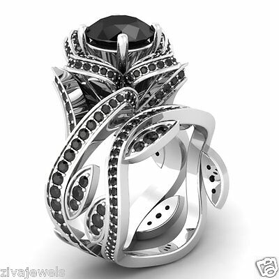 Certified Flower Lotus Black Diamond 14K White Gold Engagement Wedding Ring Set