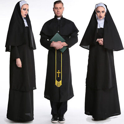 Lover's Halloween Cosplay Male Missionary Priest Nuns Fancy Dress Couple Outfit