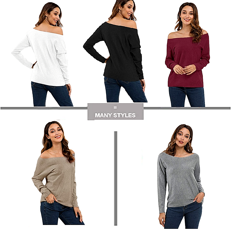 Women Off Shoulder Sweater Long Sleeve Tops Pullover Knit Jumper Batwing Fashion Clothing, Shoes & Accessories