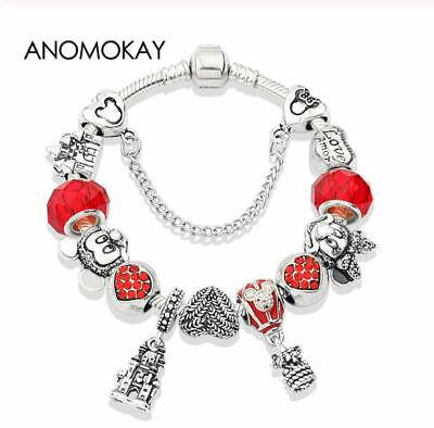 2019 European 925 Silver Charms Bracelet with Silver Disney Mickey Minnie Beads