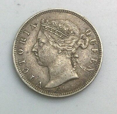 1894 STRAITS SETTLEMENTS 20  CENTS  VICTORIA SILVER NICE GRADE COIN  KM12