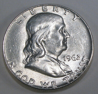 1962 D FRANKLIN SILVER HALF DOLLAR  BRILLIANT WHITE COIN WITH GREAT BELL LINES