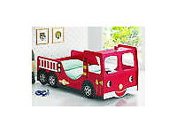 Good Quality Used Single Size Children's Fire Engine Bed (No Mattress)