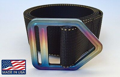 Titanium Wildland Firefighter Belt. Nomex Rigger Paramedic Pride Hotshot Rainbow