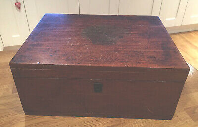 Antique Solid Mahogany Storage/Sewing/Trinkets Box c. 1900 Needs Restoration
