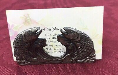 Vintage Metal Fish Business Card Holder