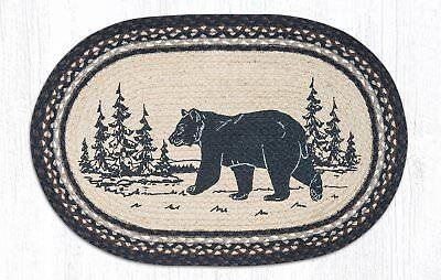 - BLACK BEAR SILHOUETTE 100% Natural Braided Jute Rug, 20