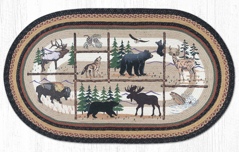 Cabin Lodge Braided Oval Earth Jute Rug Cabin Lodge Animals