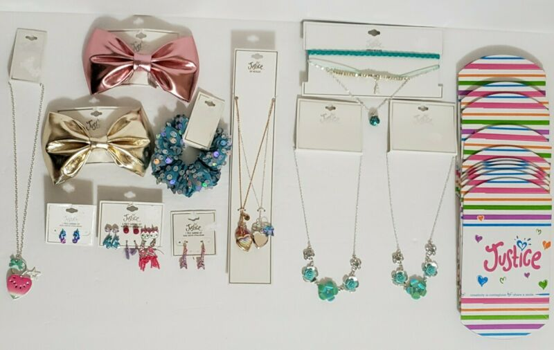 Lot of 11 Justice Brand Girl Hair bow/Earring/Choker/Necklace and Gift box