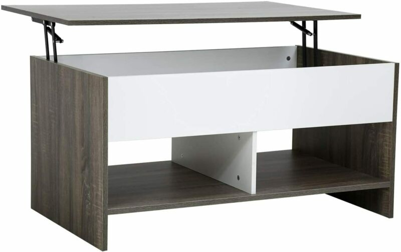 Oak & White Lift-up Coffee Table Hidden Storage Cabinet Compartment Longlasting