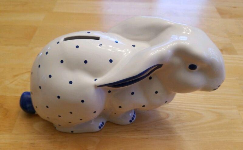 Tiffany & Co. Blue / White  Porcelain Polka Dot Bunny Bank