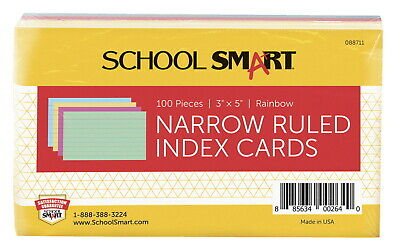 School Smart Ruled Index Cards 3 X 5 Inches Assorted Colors Pack Of 100